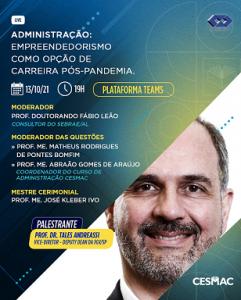 Empreendedorismo como opção de carreira pós-pandemia é tema de Live no curso de Administração do Cesmac